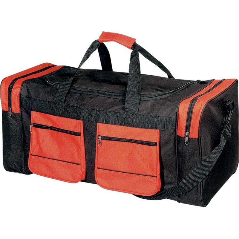 9ca453d396 Αθλητική τσάντα με δύο πλαϊνές και δύο εξωτερικές θήκες Β 2750 Μαύρο με  κόκκινο