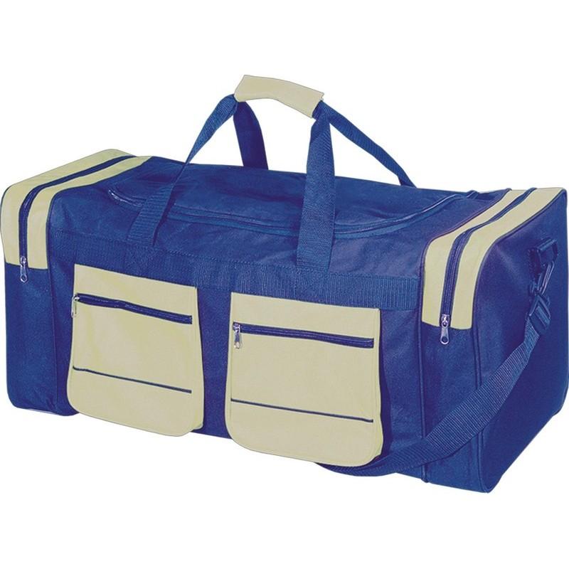af12404ebf Αθλητική τσάντα με δύο πλαϊνές και δύο εξωτερικές θήκες Β 2750 Μπλε με μπεζ